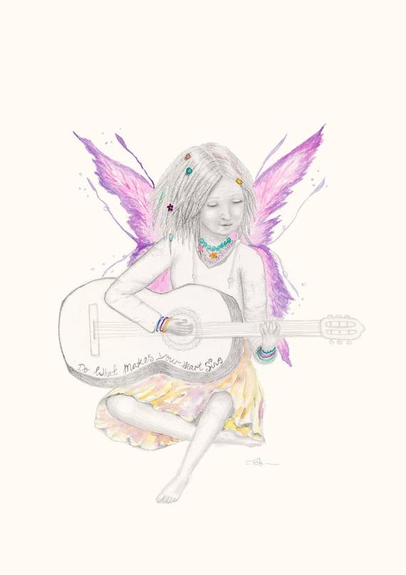 Sunny fairy - watercolour, pencil, wall art, kids decor, kids room, girl, girl gift, Hippy, baby shower, guitar, inspirational, print
