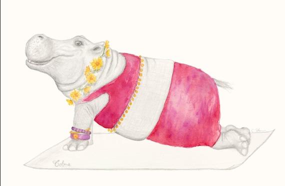 Hippopotamus Art - Art of Zoo | Yoga Art Print | Hippo kids Print | Hippopotamus Drawing | Quirky Art