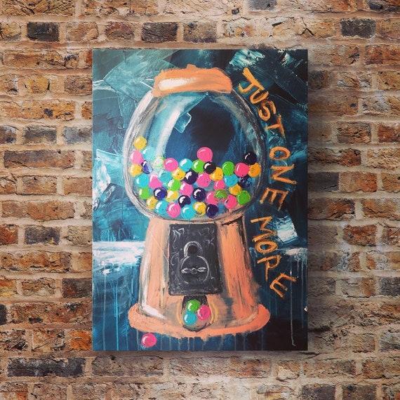Original artwork - childhood - gumball machine - acrylic on canvas - retro art - vintage gumball machine