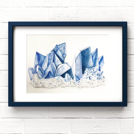 Sapphire print - Birthstone art| Large wall art| September birthstone| blue sapphire art | Sapphire wall art | Gemstone Decor
