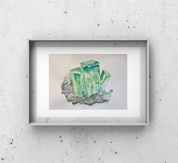 Emerald - May birthstone, gemstone, birthstone, raw umber decor, May birthday, precious stones, fine art print, giclee print