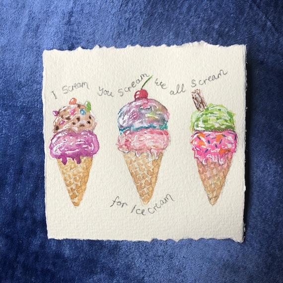 Ice cream art, original mini art, childhood memories, watercolour original, retro art