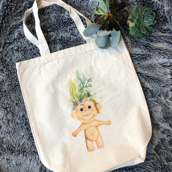natural deluxe eco woven tote bag - featuring Greenery troll