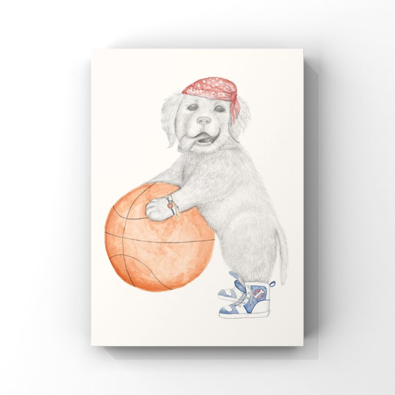 Buster the dog, basketball, fine art print, giclee, golden retriever, puppy, dog, childrens print, wall art, basketball dog