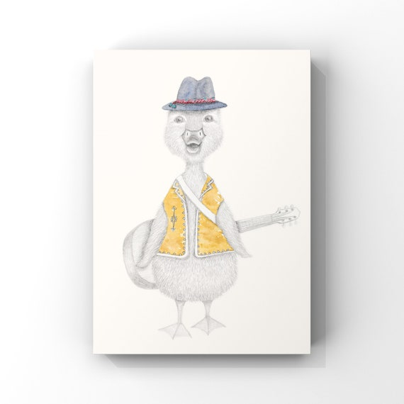 Jack the Duck - Bohemian, Hippy, Childrens Print, fine art print, giclee print, guitar, musician, music