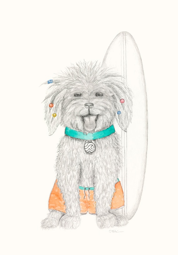 Muppety the Puppy - Bohemian, Hippy,Animal Print, baby shower, babygift, nursery print, wall art, dog, surfing, kids room