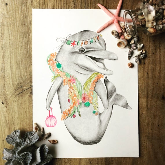 Luna the dolphin - bohemian animal,children's, fine art print, ocean creatures, travel