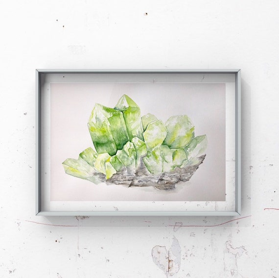 Peridot Print - August birthstone, gemstone, birthstone, green decor, august birthday, watercolour fine art print, giclee print.