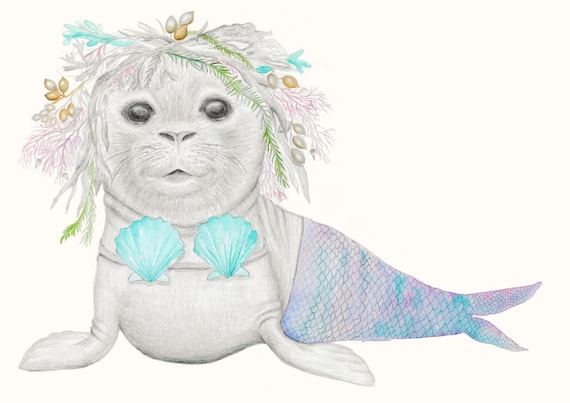 Pearl the seal - ocean, beach, Bohemian Hippy Childrens Print