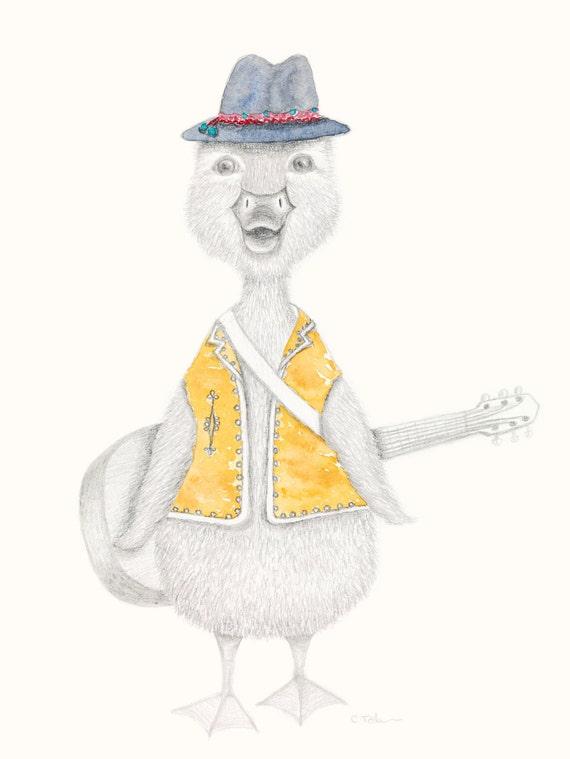 Jack the Duck - Bohemian, Hippy, Childrens Print, fine art print, giclee print, guitar, musician, music