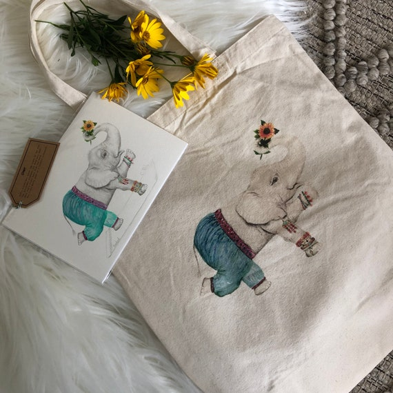 natural deluxe eco woven tote bag with A5 fine art print - Featuring Ginger the Elephant