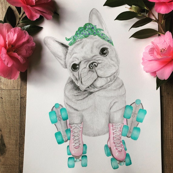 French Bulldog, fine art print, giclee, puppy, dog, childrens print, wall art, roller skates, whimsical art, dog art, Frenchy, quirky art