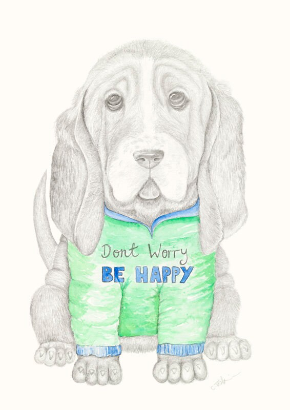 Dog, hoody, fine art print, giclee, Basset hound, puppy, dog, childrens