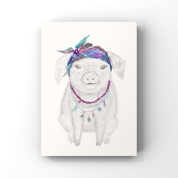 Magnolia the pig - fine art print, wall art, nursery wall art, children's art, bohemian, Hippy, children's print, Easter, girl gift