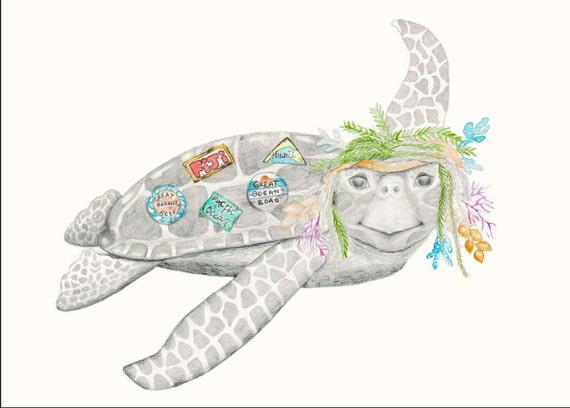 Lennard the turtle - bohemian animal,children's, fine art print, ocean creatures, travel