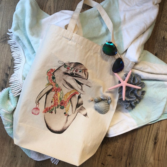 natural deluxe eco woven tote bag - featuring Luna the dolphin