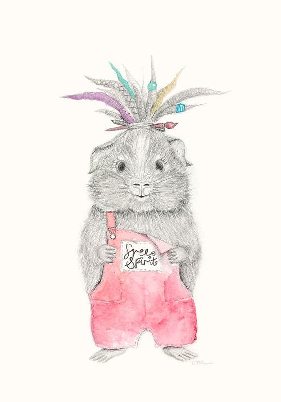 Guinea Pig Art - Guinea Pig Print | Quirky Art | Boho Nursery Art | Boho Room Decor | Tumblr room decor