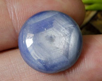 Large 16.8 ct. Extremely Unique Spider Web, Natural Unheated/Untreated Hexagonal Crystal Structured Blue Sapphire Cabochon Gemstone
