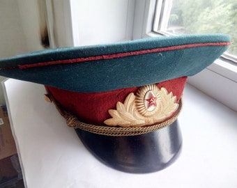 Vintage Authentic Parade peaked cap of the officer of the Soviet armored  forces  a8791778ed47