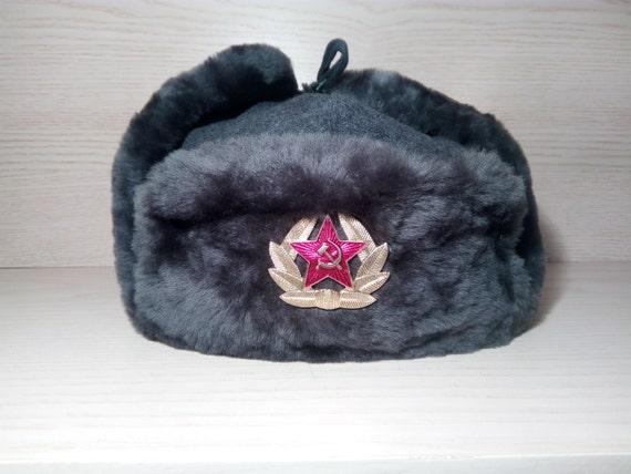 Authentic Modern Russian Ushanka Military Hat Gray Soviet Red  b0283c628446