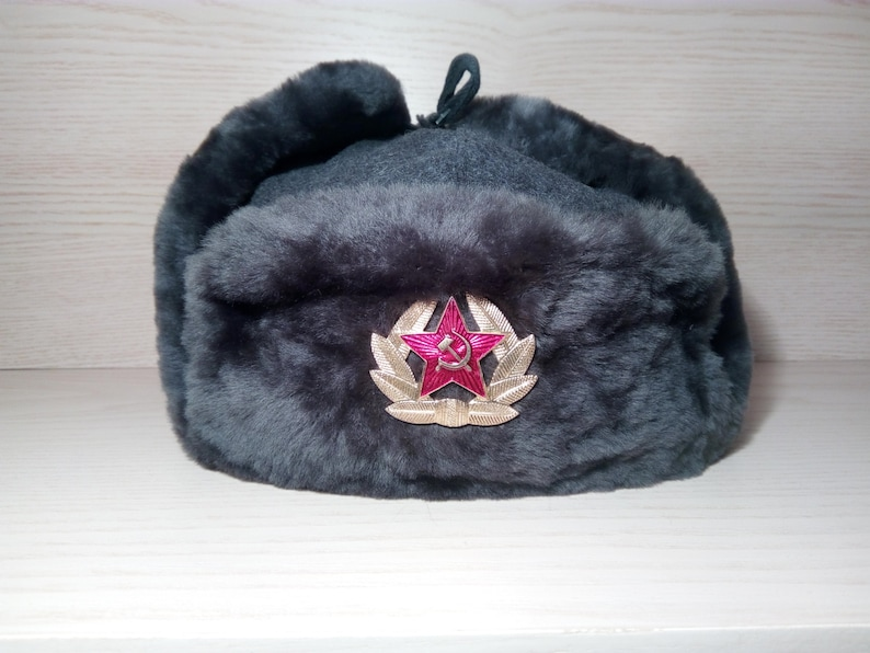 cff0aeacec9 Authentic Modern Russian Ushanka Military Hat Gray Soviet Red