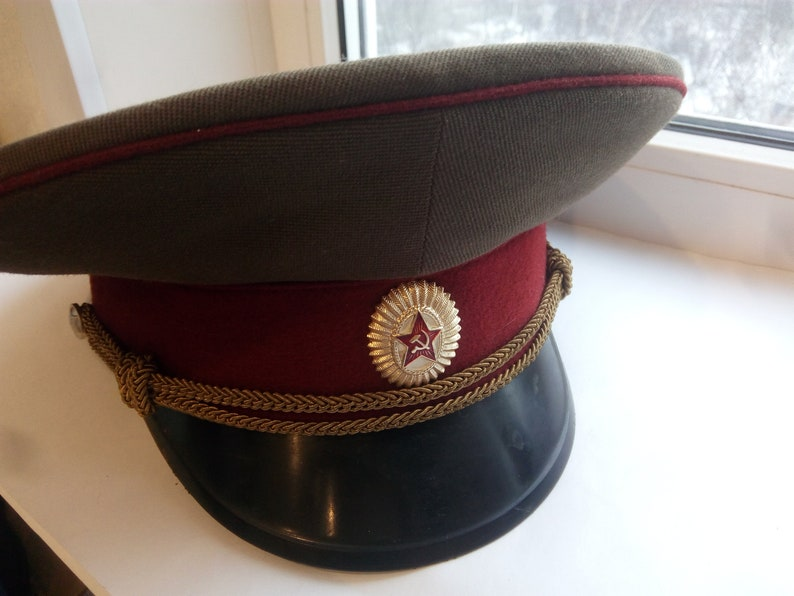 737472470eeaf Vintage Authentic Army Cap Soviet military , Military Hat Cap, Hat Russia  Army,officer's cap , Size 57 USSR US Sz M