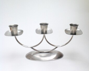 1970's stainless steel candelabrum /candle stick