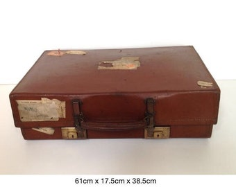 FREE UK POSTAGE* A vintage large leather suitcase