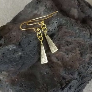 Drop earrings of /'leaf-shaped tool/' from a Polish 2 zlote coin dated 2012 commemorating the Krzemionki archaeological site in Poland