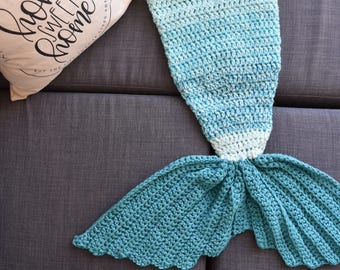 READY TO SHIP x Blue Toddler Mermaid Tail Blanket