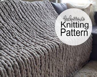 KNITTING PATTERN x Giant Knit Blanket x Knitted Blanket x The GENTE Blanket