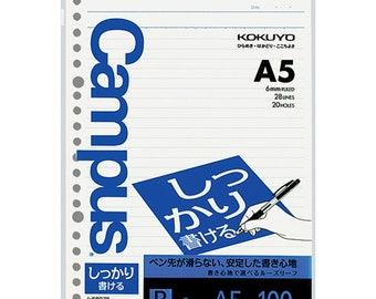 Kokuyo A5 Campus Shikkari Loose Leaf Paper 807B Dotted 6 mm Rule 20 Holes 100 Sheets   A5