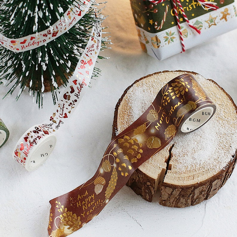 BGM Holiday Christmas Acorn Pinecone Heart Lights Nature Gold Foil Washi Tape