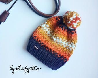 Ladies hat with Wool, Fair Isle, handmade-autumn colors with Pom Pom