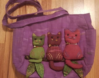 Cotton Twill Tote with Cats