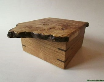 Small Burl Top Box from Appalachian Hardwoods (jewelry, storage, unique gift)