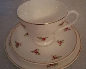 Tea cup, saucer and cake plate (English vintage bone china)