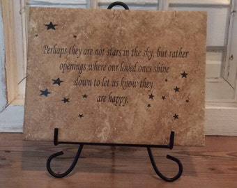 "Perhaps They Are Not Stars In The Sky, Laser Engraved Tile, 9"" x 11 3/4"""