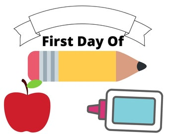 Printable First Day Of School Sign For Boys or Girls, Printable School Sign, Pencil And Apple School Sign, First Day Of School Printable