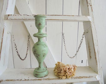 Candle stand Shabby chic green unique candle holder Green