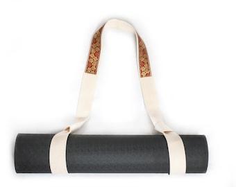 Yoga Mat Strap, Cotton Yoga Mat Carrier,Pilates Mat Strap plus FREE GIFT Natural Deodorant , Handmade Cotton Yoga Mat Strap