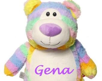 Pastel Rainbow Bear Cubby, Easter Teddy Bear,  Pastel Rainbow Teddy Bear, Monogrammed Teddy Bear, Personalized Teddy Bear.  Baby Gift