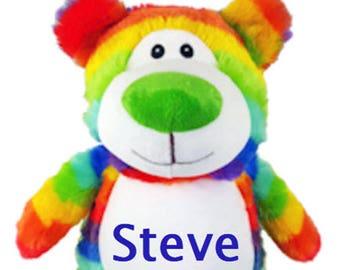 Rainbow Bear Cubby, Easter Teddy Bear,  Rainbow Teddy Bear, Monogrammed Teddy Bear, Personalized Teddy Bear,  Monogrammed Baby Gift