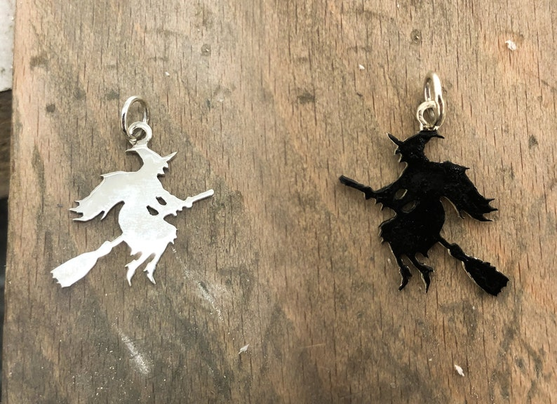 Silver Wicked Witch Pendant or Charm  with or without Chain image 0