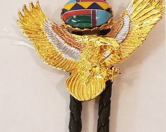 Made In USA Indian Style Eagle Bolo Tie Bolo/'s Boloties Bolas Jewelry Accessories Gold Turquoise Husband Father Grandfather Gift #80423-1