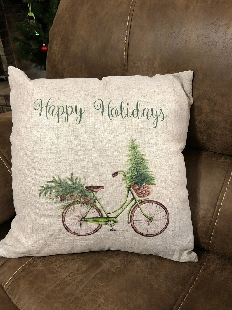 Christmas Bicycle Pillow Cover Lover Holiday