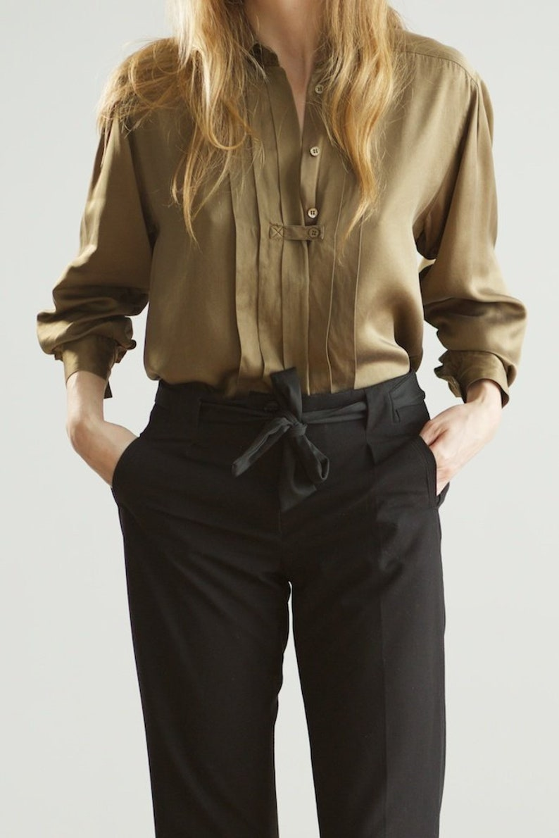 90s structural silk blouse  vintage flat pleated shirt  small