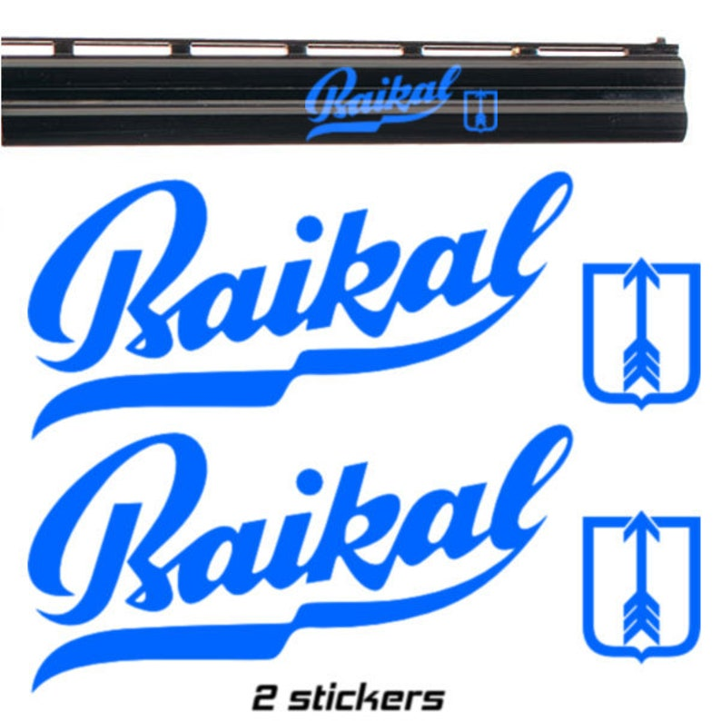 2x BAIKAL Vinyl Decal Sticker Autocollant Aufkleber Adesivi Pegatina  3  sizes 8 colours, For Shotgun Gun, Case, Gun Safe