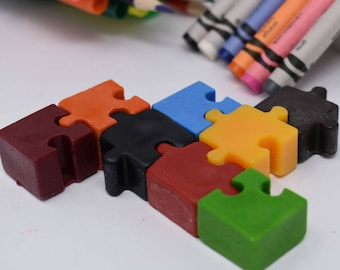Puzzle Crayons - Set of 8 - Puzzle Gift - Kids Gift - Mind Bender Crayons - Jigsaw Puzzle Crayons - Kids Party Favor - Unique Kids Gift