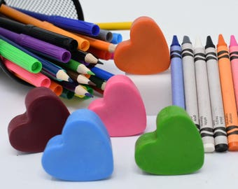 Heart Crayons-Set of 5 - Stocking Stuffer - Valentine's Day - Be My Valentine - Party Favor - School Valentine - Birthday Party Favor